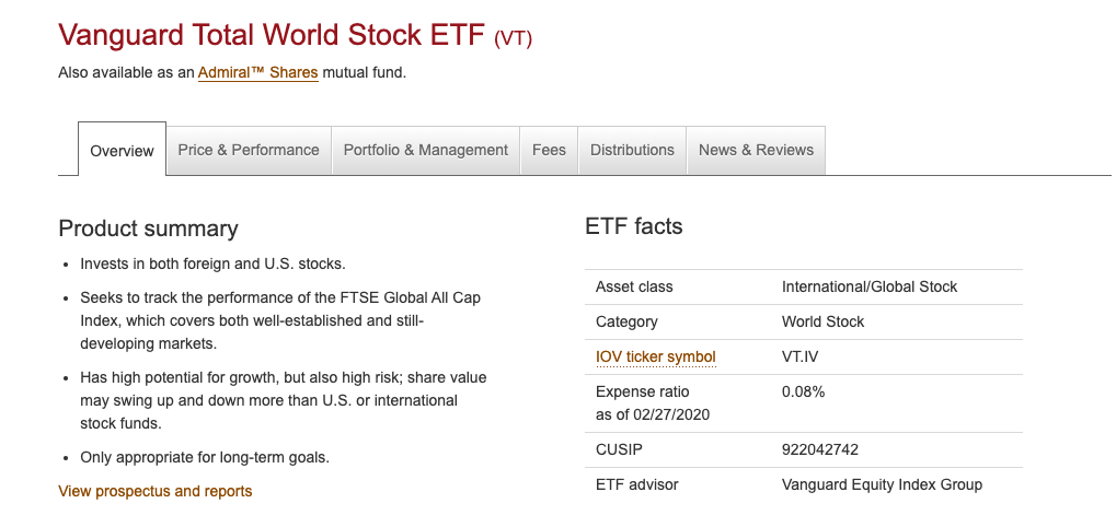 Vanguard Total World Stock ETF (VT)